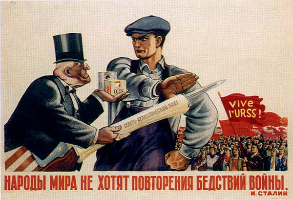 Capitalist and worker communist propaganda