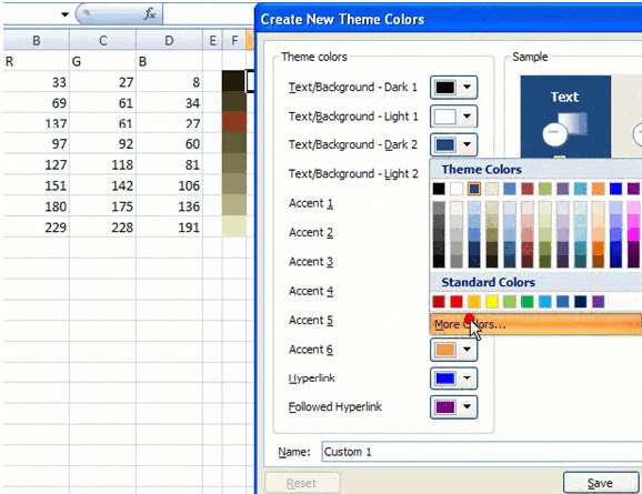 Excel color palette tutorial